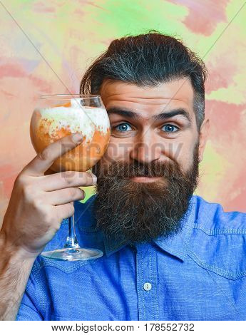 Brutal Caucasian Hipster With Moustache With Tropical Alcoholic Fresh Cocktail
