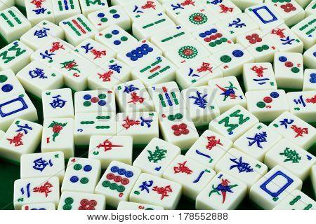 Mahjong Tiles Randomly Places on the Mahjong Table