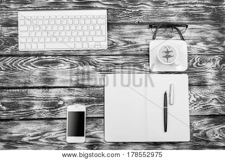 High Contrast Black And White Working Place