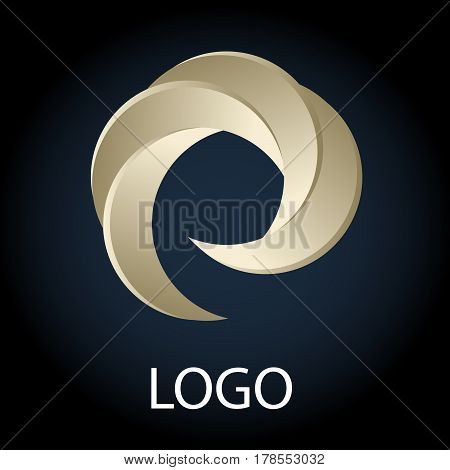 Vector Illustration Of Light Semi-circle Logo On Dark Background