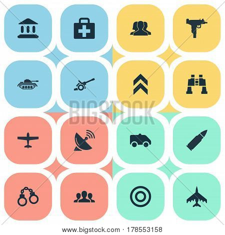 Vector Illustration Set Of Simple Terror Icons. Elements Courthouse, Ammunition, Emergency And Other Synonyms Aid, Aim And Hospital.