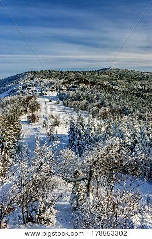 View of the snowy winter mountain landscape Pustevny-Beskydy/Czech Republic