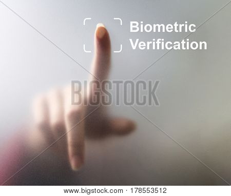 unlocking devices with fingerprint scan using biometrics security, concept with digital interface