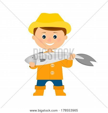 Smiling fisherman holding big fish. Isolated on white background. Flat style. Vector illustration