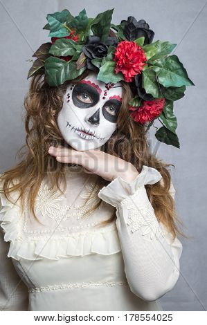 Portrait of a girl with day of the dead makeup