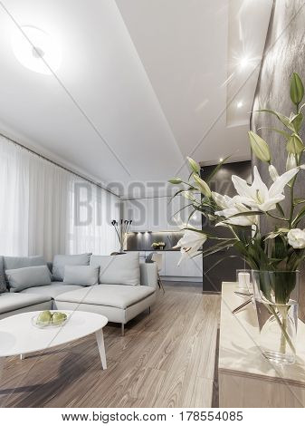 Modern interior of a small private apartment sitting room sofa and coffee table