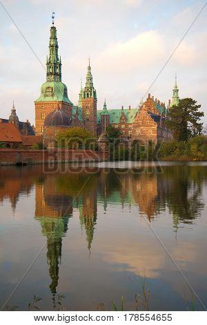 Frederiksborg Castle closeup of a November evening. Hillered, Denmark