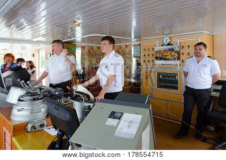 UGLICH RUSSIA - JULY 19 2016: Captain of river comfortable three-deck cruise ship
