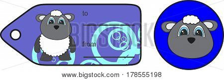 sweet little chubby sheep cartoon gift card in vector format very easy to edit