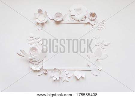 Square Frame With White Paper Flowers. Flat Lay. Nature Concept