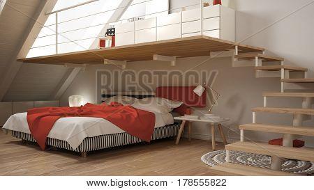 Loft Mezzanine Scandinavian Minimalist Bedroom, White And Red Classic Interior Design