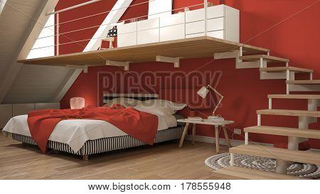Loft Mezzanine Scandinavian Minimalist Bedroom, Colorful Red Classic Interior Design