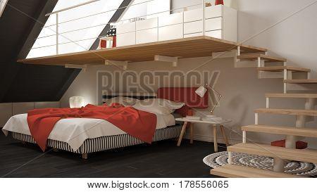 Loft Mezzanine Scandinavian Minimalist Bedroom, Red And Yellow Classic Interior Design