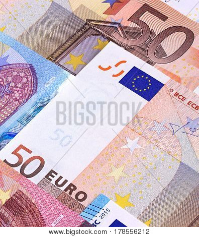 Euro Money Banknotes Different Denominations Abstract Background.