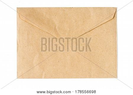 Closed an old envelope isolated on white background
