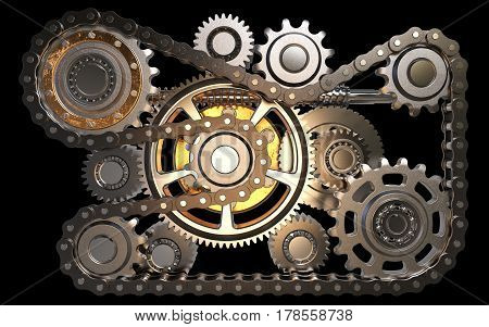 Gears with chain isolated on black background 3D rendering