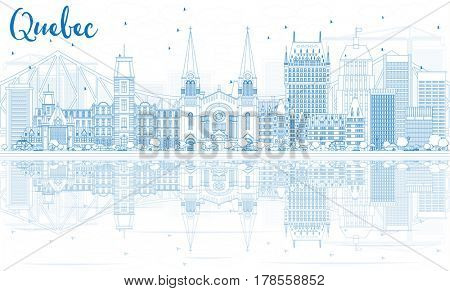 Outline Quebec Skyline with Blue Buildings. Business Travel and Tourism Concept with Historic Architecture. Image for Presentation Banner Placard and Web Site.