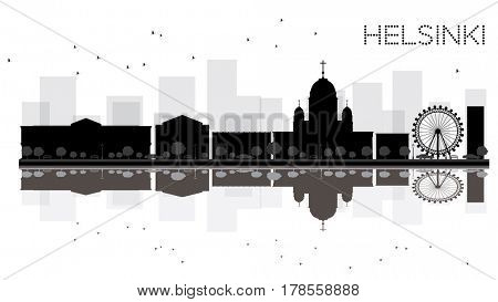 Helsinki City skyline black and white silhouette with reflections. Simple flat concept for tourism presentation, banner, placard or web site. Business travel concept. Cityscape with landmarks.