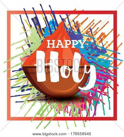 Happy Holi Celebration Poster with Frame.