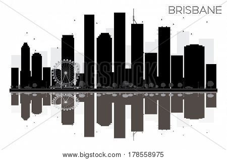 Brisbane City skyline black and white silhouette with reflections. Simple flat concept for tourism presentation, banner, placard or web site. Cityscape with landmarks.