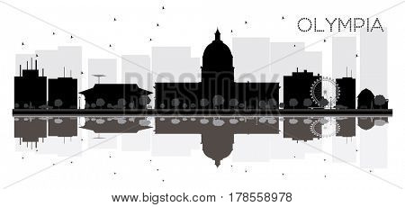 Olympia City skyline black and white silhouette with reflections. Simple flat concept for tourism presentation, banner, placard or web site. Cityscape with landmarks.