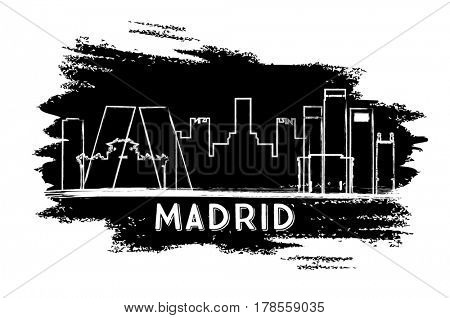 Madrid Skyline Silhouette. Hand Drawn Sketch. Business Travel and Tourism Concept with Historic Architecture. Image for Presentation Banner Placard and Web Site.