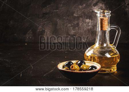 Golden Olive Oil With Olives