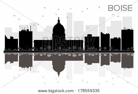 Boise City skyline black and white silhouette with reflections. Simple flat concept for tourism presentation, banner, placard or web site. Cityscape with famous landmarks