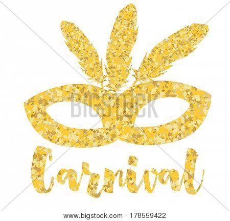 Gold Carnival Mask, Masquerade, Mardi Gras.
