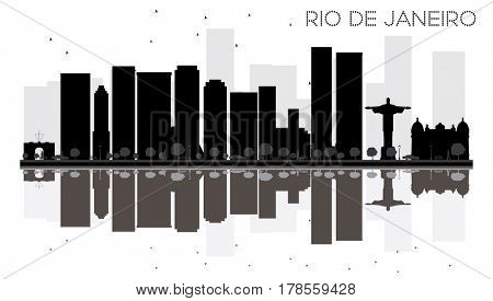 Rio de Janeiro City skyline black and white silhouette with reflections. Simple flat concept for tourism presentation, banner, placard or web. Cityscape with landmarks