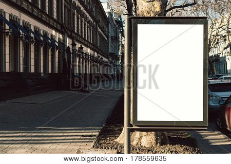 Advertising blank display in the old city in the sunlight
