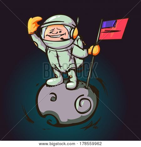 Astronaut with the flag on the moon looking into the distance