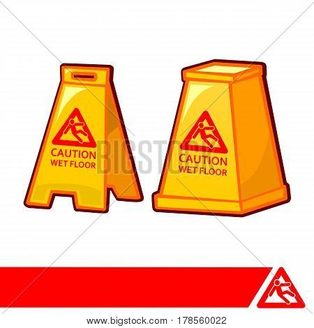 caution wet floor two kinds of plates on white background