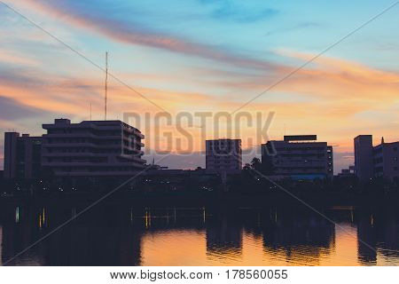 Silhouette of dwellings and sky day, architecture city