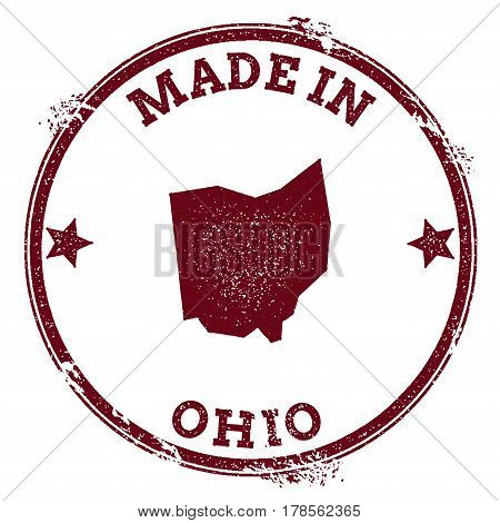 Ohio Vector Seal. Vintage Usa State Map Stamp. Grunge Rubber Stamp With Made In Ohio Text And Usa St