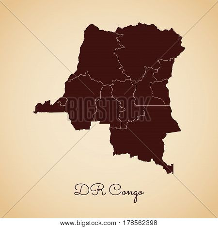 Dr Congo Region Map: Retro Style Brown Outline On Old Paper Background. Detailed Map Of Dr Congo Reg