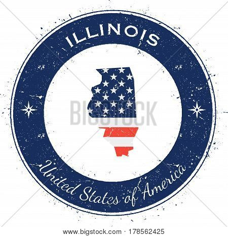 Illinois Circular Patriotic Badge. Grunge Rubber Stamp With Usa State Flag, Map And The Illinois Wri