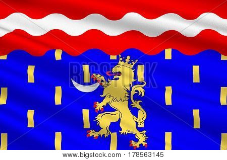 Flag of Haute-Saone is a French department of the Franche-Comte region named after the Saone River. 3d illustration