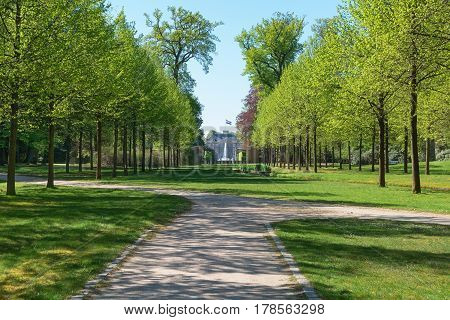 Apeldoorn The Netherlands May 8 2016: Park behind The Loo Palace a former royal palace and now a national museum located in the outskirts of Apeldoorn in the Netherlands