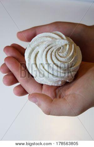 Marshmallow (zephyr) in woman's hands.  zephyr in hands