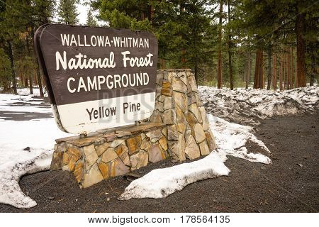Fresh snow stands around the Yellow Pine Campground sign in Wallowa-Whitman National Forest