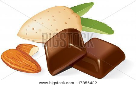 Chocolate pieces and almonds composition