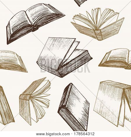 Book Hand Draw Sketch Background Pattern Retro Style Web Design. Vector illustration
