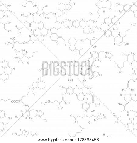 Seamless science molecule background. Realistic vitamine molecules bonded with each other. Abstract technology seamless pattern or texture.