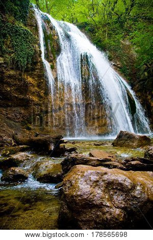 Jur-Jur the most full-flowing waterfall of Crimea located on the territory of Alushta region