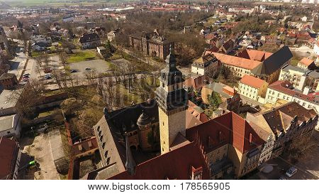 aerial view Zeitz aerial view old town germany Saxony-Anhalt