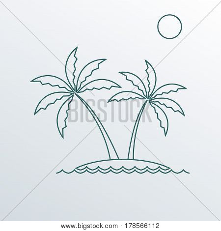 Palm tree icon. Outline symbol of two palm trees on the island. Vector illustration.