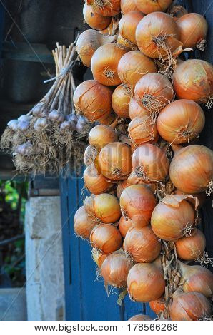 bunch of onions and garlic are tied up to a shed roof