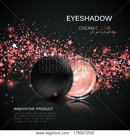 Beauty eye shadows or cheek blush ad. Cosmetics package design. 3d vector illustration. Glamorous rose gold eyeshadows jar with shiny stars and glitters wave. Product package mock-up for ad poster
