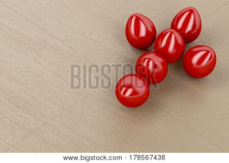 Easter decoration with red eggs in form of christian cross, 3D illustration